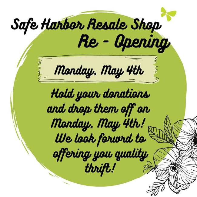 Safe Harbor Resale Shop Closed – Reopening May 4th!